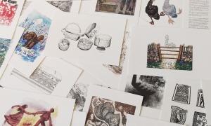 La carpeta conté una vintena d'estampes amb dibuixos, gravats i aquarel·les de Sergi Mas.