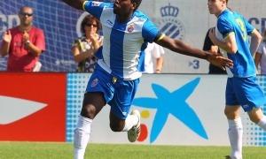 'Bacari' celebra amb Carlos Clerc (ara al Llevant) un gol amb l'Espanyol B, l'any que va debutar amb el primer equip. Foto: RCD Espanyol
