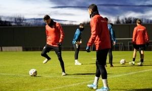 L'FC Andorra es va entrenar ahir a la tarda a Burgos abans d'enfrontar-se a l'equip dirigit per Julián Calero, exsegon de Julen Lopetegui. Foto: FC Andorra