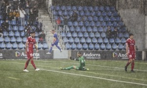 Rubén Enri, davanter de l'FC Andorra, va marcar el 2 a 0 després d'un servei de banda tret intel·ligentment per Eudald Vergés.Foto: Facundo Santana