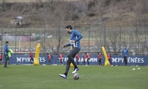 Eder Sarabia, a Prada de Moles, en el seu primer entrenament amb l'FC Andorra. Foto: Facundo Santana