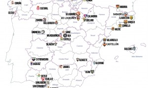 La distribució de la Primera RFEF amb l'FC Andorra que farà d'extrem nord a extrem sud. Foto: RFEF