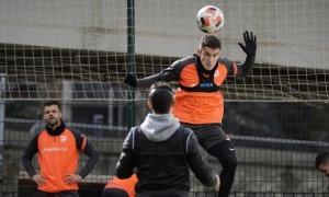 Marc Pedraza, durant l'entrenament d'ahir al matí a Prada de Moles. Foto: FC Andorra