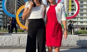 Mònica Doria i Núria Vilarrubla, de companyes d'entrenament a rivals a Tòquio. Foto: Twitter Jordi Fàbrega