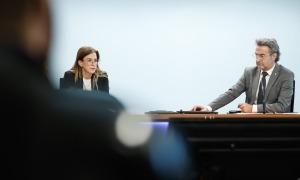 Sílvia Riva i Justo Ruiz, a la roda de premsa d'ahir de presentació de les beques ARA. Foto: SFGA / C. Esteve