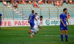 Genís Soldevila celebra el 0 a 1 contra el KF Teuta al partit d'anada de la UEFA Conference League.Foto: Interescaldes.com