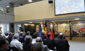 L'ambaixador d'Espanya al Principat, Manuel Montobbio, en un moment del seu discurs en l'acte commemoratiu d'ahir.