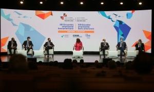 Un moment del 'Conversatorio' amb els mandataris que participen de forma presencial en la Cimera Iberoamericana.