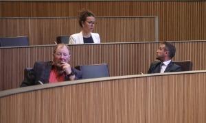 Intercanvi d'impressions entre president i presidenta suplent del grup socialdemòcrata, Pere López i Judith Salazar, ahir al Consell.