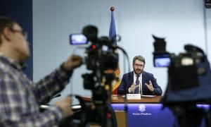 El ministre de Finances i portaveu de l'executiu, Eric Jover, en la compareixença d'ahir per fer el punt a la situació de l'epidèmia.