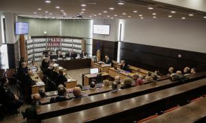 Vista de la sala on se celebra el judici del 'cas BPA' minuts abans de començar la sessió d'ahir.