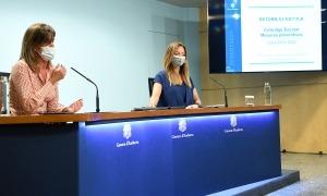 Vilarrubla i Mas en la roda de premsa de presentació de l'inici del curs escolar, aquesta tarda.