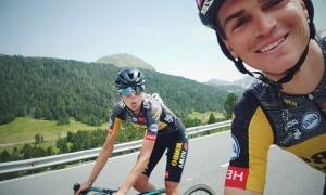 Noemí Farré, ex-ciclista professional del Massi-Tactic, i Sepp Kuss, del Team Jumbo-Visma, entrenant-se en territori andorrà. Foto: Sepp Kuss