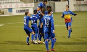 Els jugadors de l'FC Andorra celebren el gol al minut 92 de Carlos Martínez.Foto: FC Andorra
