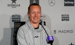Kiki Bertens, en la roda de premsa prèvia al partit contra Vicky Jiménez.