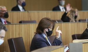 Els consellers generals de la majoria parlamentària en el moment de votar el text dels esports electrònics.