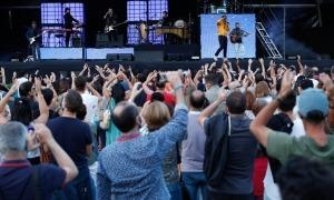 Un instant del concert de la banda catalana, ahir.