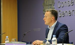 El conseller general de L'A Ferran Costa en la compareixença d'ahir.