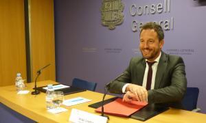 El conseller general del PS Pere López en la compareixença d'ahir.