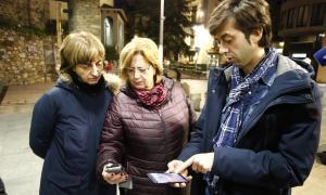 Els membres de la candidatura del PS d'Andorra la Vella, ahir.