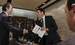 Josep Àngel Mortés i el nou secretari general, Gilbert Blasi.