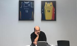 El president del MoraBanc, Gorka Aixàs, en plena reunió virtual amb els clubs i l'ACB.
