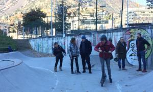 Membres de la candidatura del PS ahir a l''skate park' d'Escaldes-Engordany.