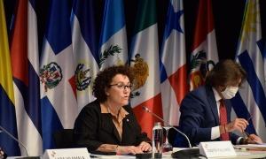 La ministra de Funció Pública i Simplificació de l'Administració, Judith Pallarés, durant la seva intervenció a la 19a Conferència iberoamericana de ministres d'Administració Pública i Reforma de l'Estat.