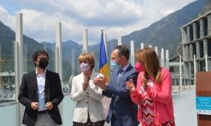 Xavier Espot, Meritxell Palmitjavila i la cònsol major d'Andorra la Vella, Conxita Marsol amb el fill de Rosa Ferrer, Marc de Diego.