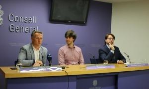 Els presidents dels grups liberal, demòcrata i de Ciutadans Compromesos, en una compareixença conjunta.