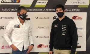 Lluís Marín, amb Carles Visa, a la roda de premsa prèvia al Campionat del Món. Foto: FAE