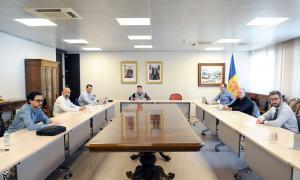 Un moment de la reunió de seguiment de l'evolució de la situació provocada pel brot de Covid-19.