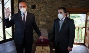 Jordi Ribó en el moment del jurament amb Jaume Bartumeu Garcia, president de Fiabci Andorra.