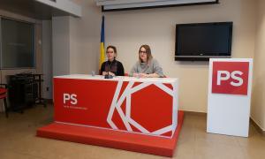 Judith Salazar i Cristina Valen ahir a la seu del Partit Socialdemòcrata.