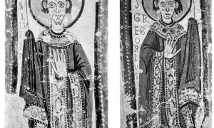 Pintures murals de Sant Gregori i Sant Silvestre que decoraven l'intradós de l'arc monumental que dona entrada a l'absis de Santa Coloma i que van ser arrecats com la resta del conjunt l'octubre del 1932 per Arturo Cividini. Tot plegat va ser venut per 15.000 pessetes a l'antiquari català Josep Bardolet i va servir per restaurar el campanar de l'església.