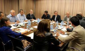 Imatge de la reunió celebrada de la Taula de Mobilitat amb representació dels Comuns, la Secretaria d'Estat d'Interior, de la policia i del Ministeri d'Ordenament Territorial