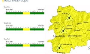El Servei Meteorològic d'Andorra activa l'avís groc per tempestes.