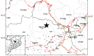 Mapa indicant l'epicentre del sisme.
