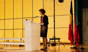 La ministra d'Afers Exteriors, Maria Ubach, durant l'acte de celebració dels 25 anys de relacions diplomàtiques entre Andorra i Portugal.