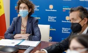 La ministra d'Afers Exteriors, Maria Ubach, durant la reunió amb el seu homòleg txec.