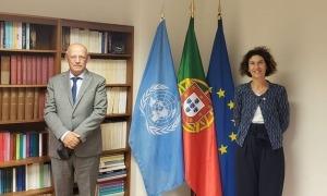 La ministra d'Afers Exteriors, Maria Ubach, i el seu homòleg portuguès, Augusto Santos Silva.