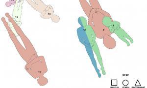 Disposició dels vuit individus exhumats amb connexió anatòmica a Santa Coloma.