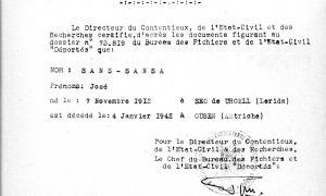 Document del ministeri francès de veterans de guerra que certifica la mort de Josep Sans a Gusen, subcamp de Mauthausen.