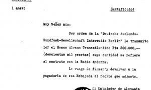 El comprometedor document que recull el pagament nazi a favor de Radio Andorra, recollit el 1953 per Louis Noguères i ara per Printz.