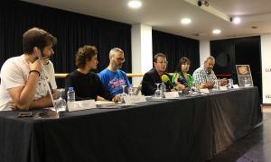 El conseller Donsión amb els responsables de L'Animal, Líquid Dansa, l'Espa de Música Moderna, Andorra Lírica i l'Escola Folk dels Pirineus.