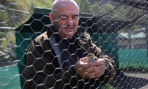 El criador Lluís Mas mostra una de les cries de perdiu xerra.
