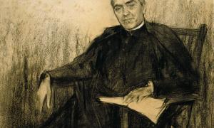 Verdaguer (Folgueroles, 1845-Vallvidrera, 1902), en el retrat canònic que en va dibuixar Ramon Casas el 1901.