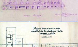 Dilmé repassa la petja de Joan Margarit, 'pare' de la plaça de les ArcadesAlçat i planta del Park Hotel traçat per l'arquitecte Joan Margarit Serradell.