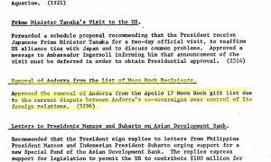 Document de la CIA que retira Andorra de la llista de països que havien de rebre un trosset de roca lunar de l'Apol·lo 17