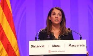 La portaveu del govern català, Meritxell Budó, en la compareixença d'aquest migdia en què ha recalcat que no es pot venir a Andorra de turisme.
